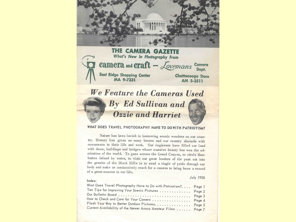 The Camera Gazette  -  July 1958