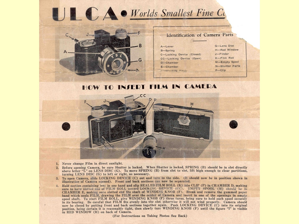 Ulca Worlds Smallest Fine Camera  -  FORM 11-7M-1-39