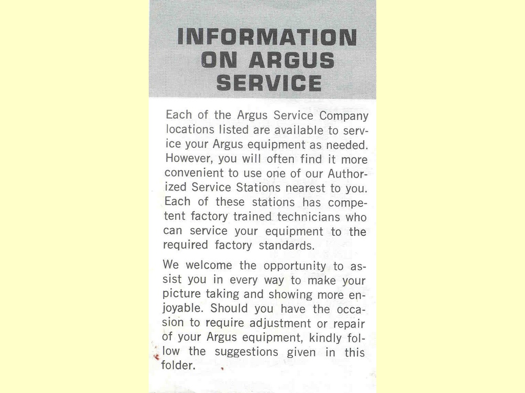Information on Argus Service  -  Part No. 55702-679