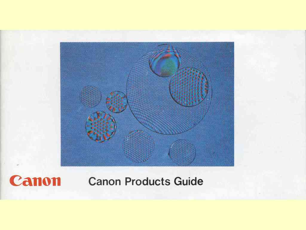Canon Products Guide  -  PUB. NO. D5077F - 0575N45