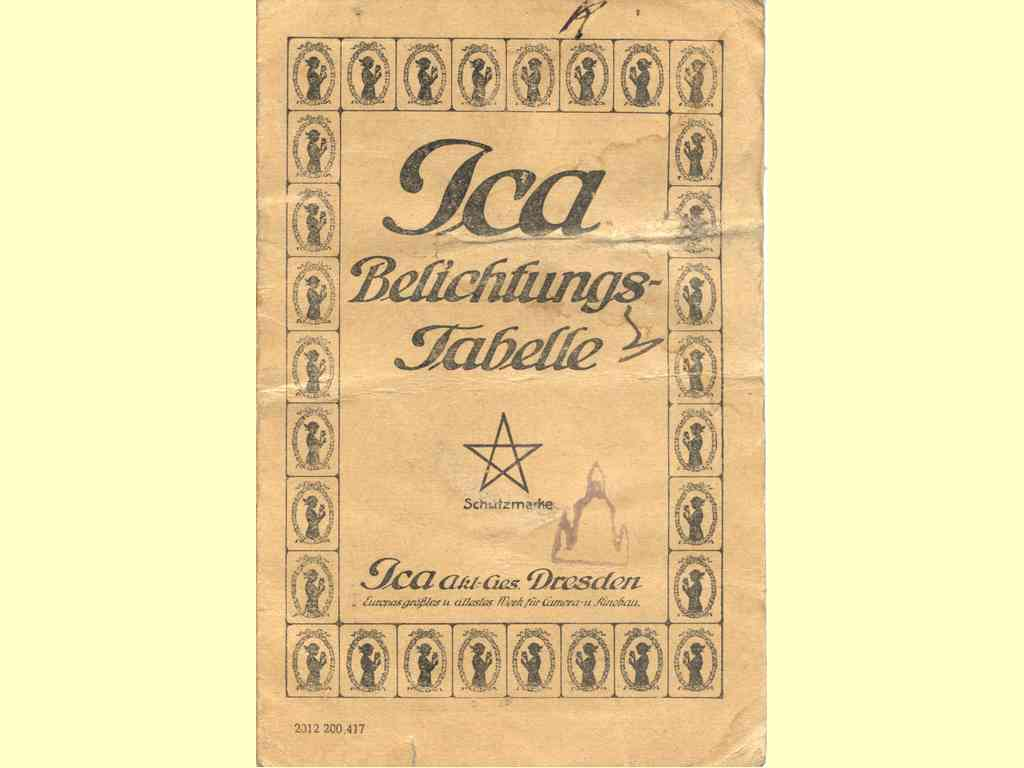 Ica Belichtungs-Tabelle  -  2012 200.417