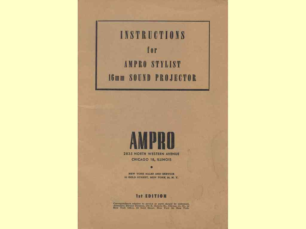Instructions for Ampro Stylist 16 mm …  -  A-472-5-51